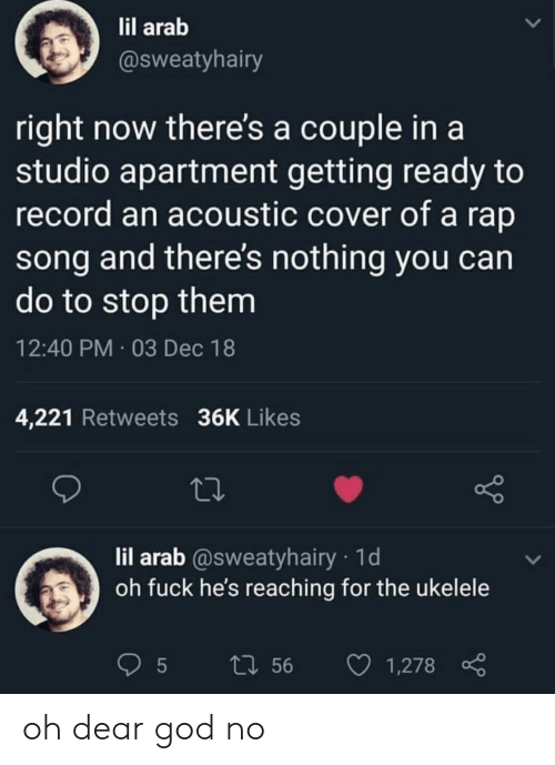 Arab: il arab  @sweatyhairy  right now there's a couple in a  studio apartment getting ready to  record an acoustic cover of a rap  song and there's nothing you can  do to stop them  12:40 PM 03 Dec 18  4,221 Retweets 36K Likes  lil arab @sweatyhairy 1d  oh fuck he's reaching for the ukelele  t1 56 1,278 oh dear god no