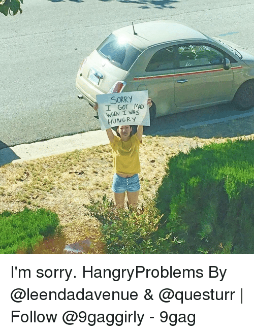 9gag, Hungry, and Memes: İl  SORRY  I GOT MAD  WHEN I WAS  HUNGRY/ I'm sorry. HangryProblems By @leendadavenue & @questurr   Follow @9gaggirly - 9gag