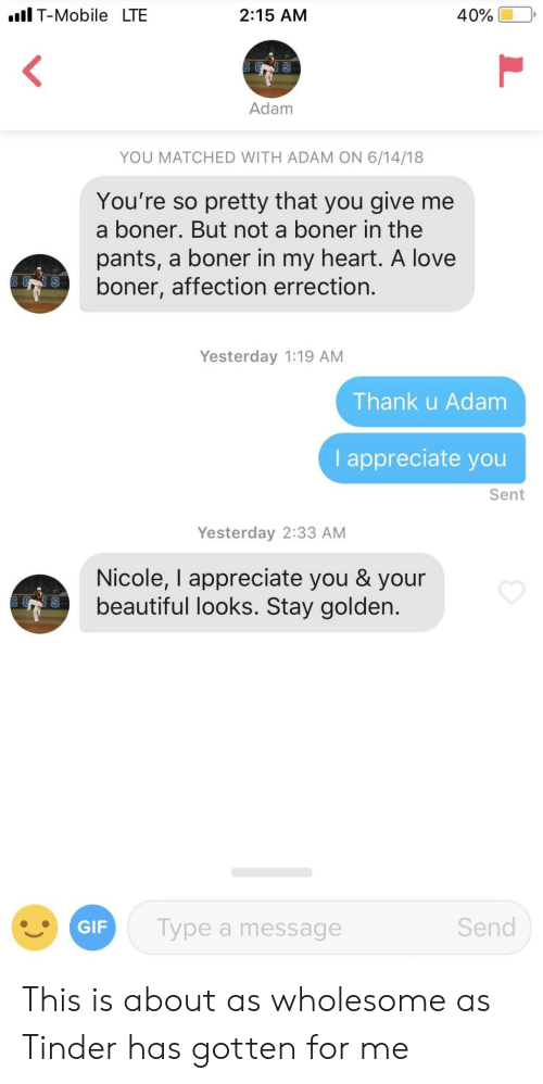your beautiful: Il T-Mobile LTE  2:15 AM  Adam  YOU MATCHED WITH ADAM ON 6/14/18  You're so pretty that you give me  a boner. But not a boner in the  pants, a boner in my heart. A love  boner, affection errection.  Yesterday 1:19 AM  Thank u Adam  I appreciate you  Sent  Yesterday 2:33 AM  Nicole, I appreciate you & your  beautiful looks. Stay golden.  GIF  Type a message  Send This is about as wholesome as Tinder has gotten for me