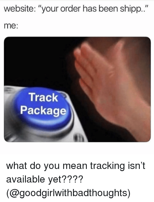 "Memes, Mean, and Been: Il  website: ""your order has been shipp.""  me:  Track  Package what do you mean tracking isn't available yet????(@goodgirlwithbadthoughts)"