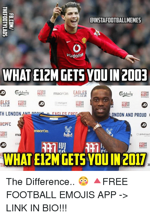 Globalization: ILINSTAFOOTBALLMEMES  Vodafo  WHAT E12M GETSYOUIN 2003  EAGLES  macri n  CPFC, CO UK  MANNON  MANNON  GLES  C.CO.UK  MANNEN  UK  MANION  TH LONDON AN  angk  LONDON AND PROUD  a CPFC  macron  global reach  WHAT E12M GETS YOU IN 2017.  FC The Difference.. 😳 🔺FREE FOOTBALL EMOJIS APP -> LINK IN BIO!!!