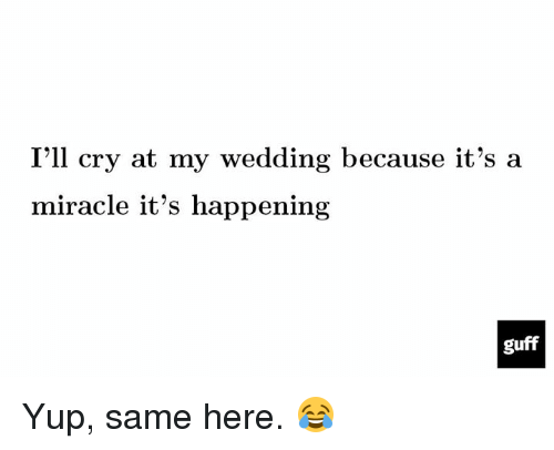 Dank, 🤖, and Guff: I'll cry at my wedding because it's a  miracle it's happening  guff Yup, same here. 😂