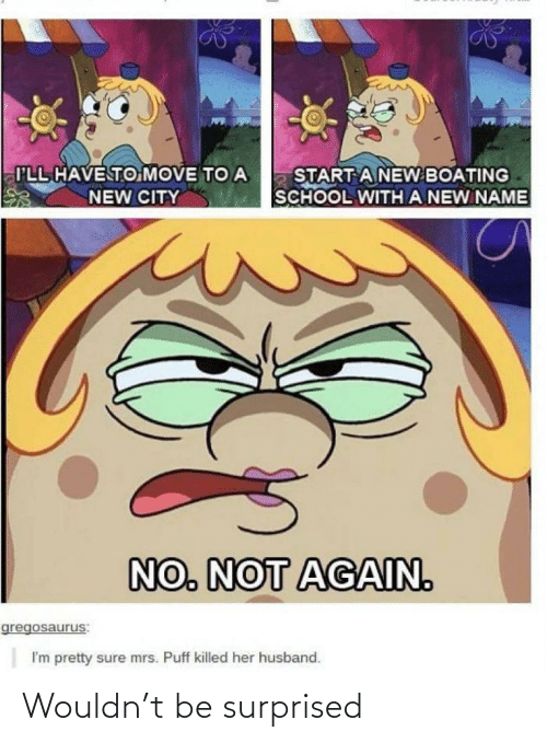 School, Husband, and Mrs. Puff: I'LL HAVE TO MOVE TO A  START A NEW BOATING  SCHOOL WITH A NEW NAME  NEW CITY  NO. NOT AGAIN.  gregosaurus:  I'm pretty sure mrs. Puff killed her husband. Wouldn't be surprised