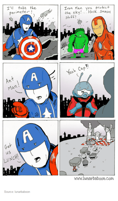 hulk smash: I'll take the  perimeter  Ann  Ma  us  LUNCH!  Source: lunarbaboon  Iron Man you protect  the sky  Hulk. SMASH  stuff  Yeah Cap  wwwlunarbaboon com