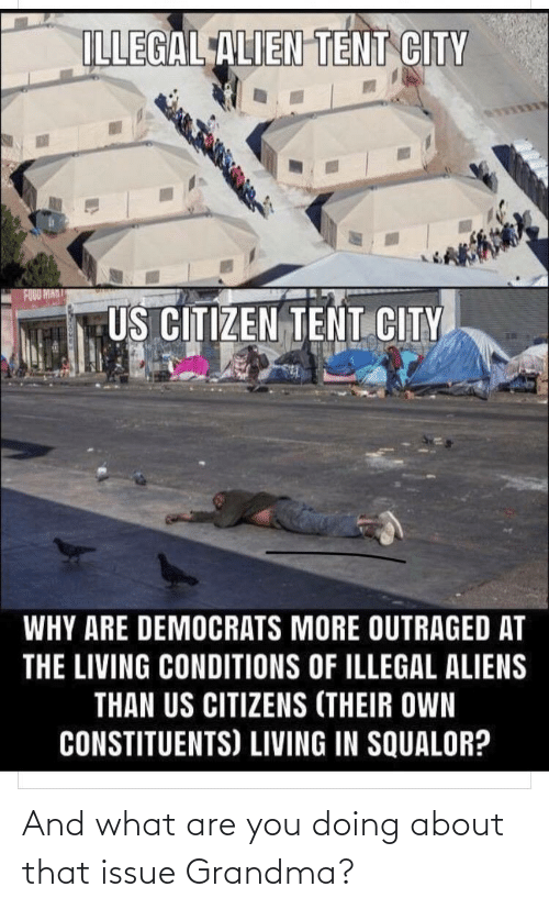 Outraged: ILLEGAL ALIEN TENT CITY  US CITIZEN TENT CITY  WHY ARE DEMOCRATS MORE OUTRAGED AT  THE LIVING CONDITIONS OF ILLEGAL ALIENS  THAN US CITIZENS (THEIR OWN  CONSTITUENTS) LIVING IN SQUALOR? And what are you doing about that issue Grandma?