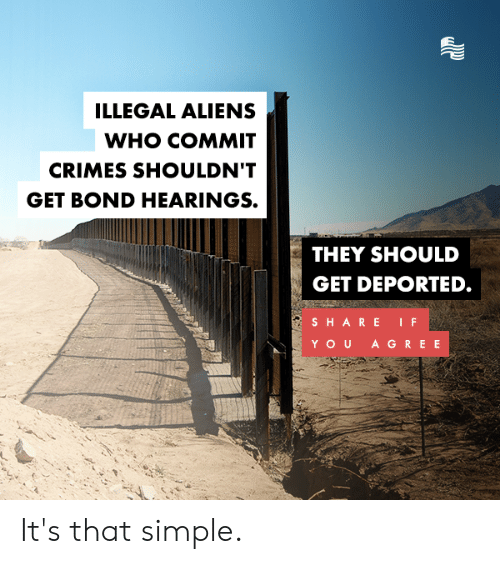 Illegal Aliens: ILLEGAL ALIENS  WHO COMMIT  CRIMES SHOULDN'T  GET BOND HEARINGS.  THEY SHOULD  GET DEPORTED.  SHARE IF  YOU A GREE It's that simple.