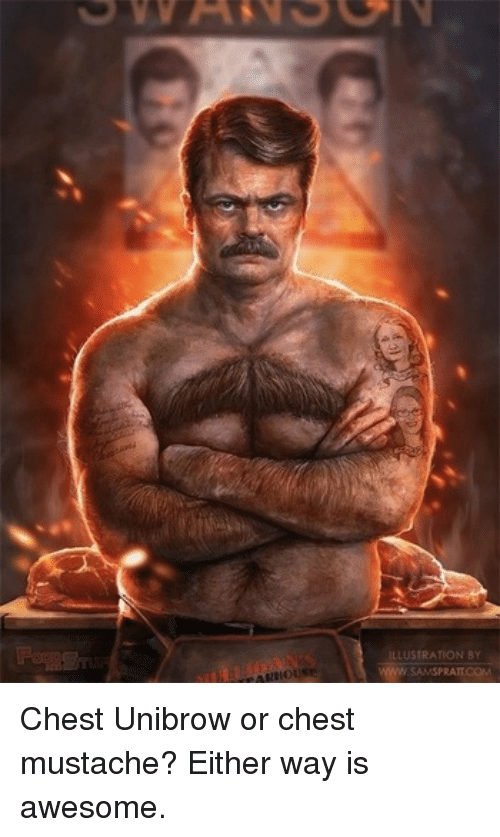 unibrow: ILLUSTRATION BY  SAMSPRATT.COM <p>Chest Unibrow or chest mustache? Either way is awesome.</p>