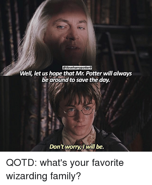 save-the-day: @iloveharrypotter9  Well, let us hope that Mr. Potter will always  be around to save the day.  Don't worry will be. QOTD: what's your favorite wizarding family?