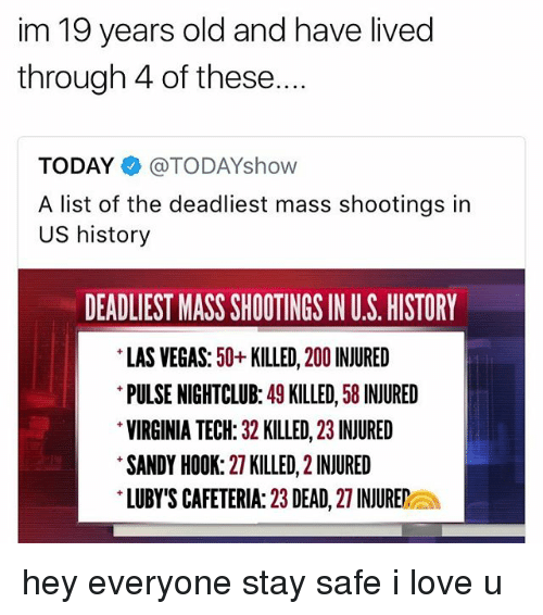 sandy hook: im 19 years old and have lived  through 4 of these....  TODAY@TODAYshow  A list of the deadliest mass shootings in  US history  DEADLIEST MASS SHOOTINGS IN U.S. HISTORY  LAS VEGAS: 50+KILLED, 200 INJURED  PULSE NIGHTCLUB: 49 KILLED, 58 INJURED  VIRGINIA TECH: 32 KILLED, 23 INJURED  SANDY HOOK: 27 KILLED, 2 INJURED  LUBY'S CAFETERIA: 23 DEAD, 27 INJUREa hey everyone stay safe i love u