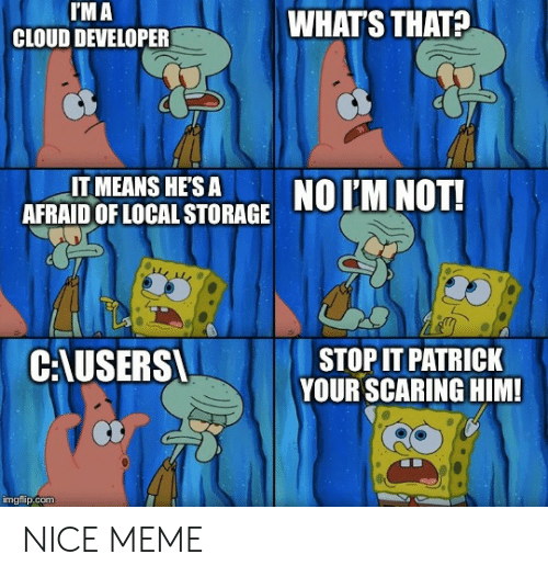 stop it: I'M A  CLOUD DEVELOPER  WHAT'S THAT?  IT MEANS HE'S A  AFRAID OF LOCAL STORAGE  NO IM NOT!  C:AUSERS  STOP IT PATRICK  YOUR SCARING HIM!  imgflip.com NICE MEME
