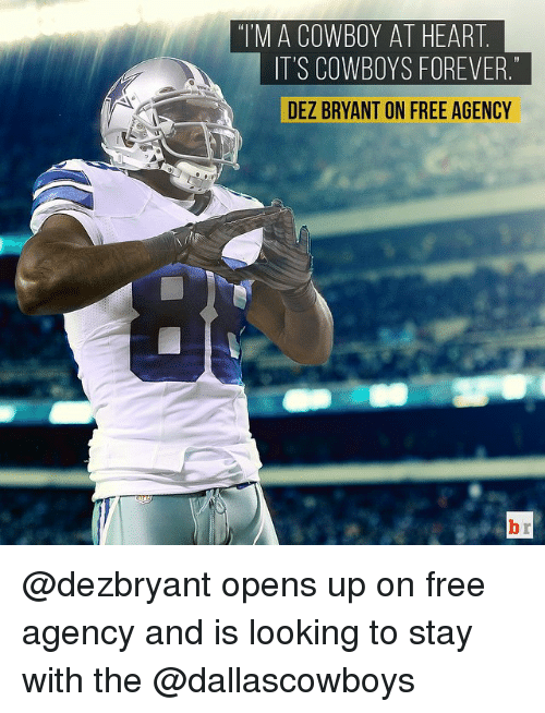 "Dez Bryant: ""I'M A COWBOY AT HEART  IT'S COWBOYS FOREVER  DEZ BRYANT ON FREE AGENCY @dezbryant opens up on free agency and is looking to stay with the @dallascowboys"