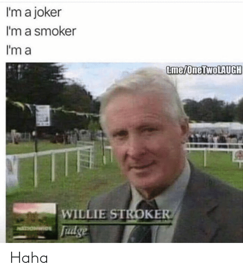 willie: I'm a joker  I'm a smoker  I'm a  me/oneLWoLAUG  WILLIE STROKE Haha