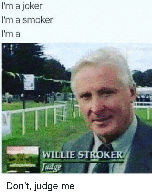 willie: I'm a joker  I'm a smoker  I'm a  WILLIE STROKE  dse Don't, judge me