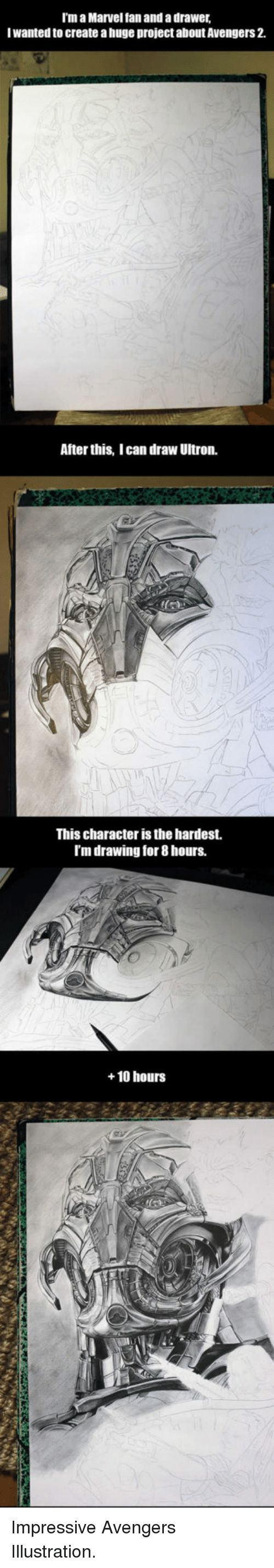 Avengers: I'm a Marvel fan and a drawer  Iwanted to create a huge project about Avengers 2.  After this, I can draw Ultron.  This character is the hardest.  I'm drawing for 8 hours.  +10 hoursS <p>Impressive Avengers Illustration.</p>