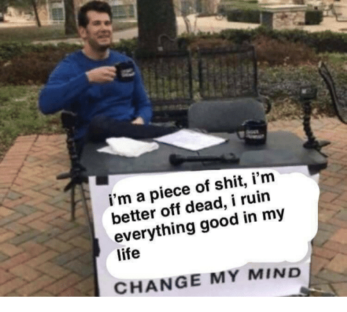 A Piece Of Shit: i'm a piece of shit, i'm  better off dead, i ruin  everything good in my  life  CHANGE MY MIND