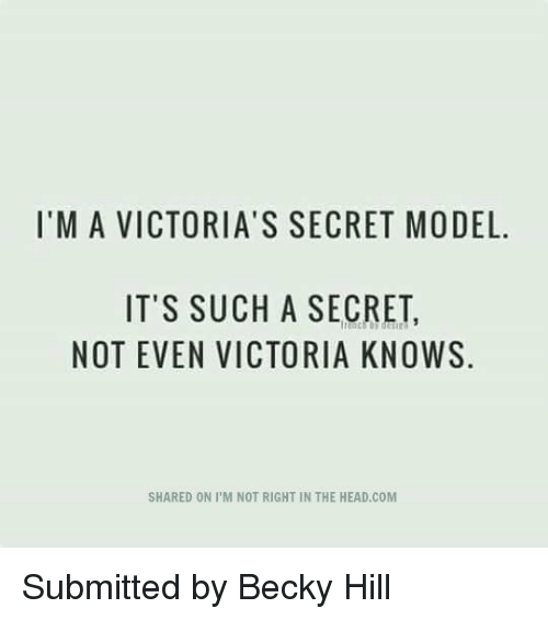 victorias secret models: I'M A VICTORIA'S SECRET MODEL.  IT'S SUCH A SECRET,  NOT EVEN VICTORIA KNOWS  SHARED ON PM NOT RIGHT IN THE HEAD.COM Submitted by Becky Hill