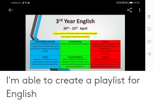 create a: I'm able to create a playlist for English
