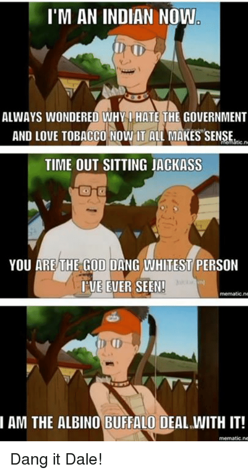 Now It All Makes Sense: I'M AN INDIAN NOW  ALWAYS WONDERED WHY I HATE THE GOVERNMENT  AND LOVE TOBACCO Now IT ALL MAKES SENSE.  ic.n  TIME OUT SITTING jACKASS  YOU ARE THE GOD DANG WHITEST PERSON  I'VE EVER SEEN!  mematic, no  AM THE ALBINO BUFFALO DEAL WITH IT!  mematic, ne Dang it Dale!