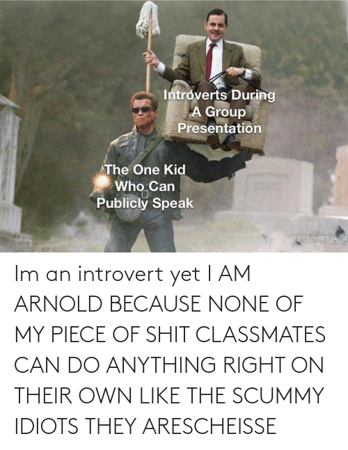 an introvert: Im an introvert yet I AM ARNOLD BECAUSE NONE OF MY PIECE OF SHIT CLASSMATES CAN DO ANYTHING RIGHT ON THEIR OWN LIKE THE SCUMMY IDIOTS THEY ARESCHEISSE