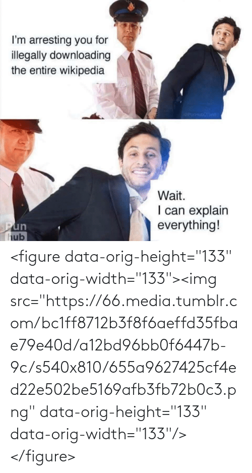 "pun: I'm arresting you for  illegally downloading  the entire wikipedia  icanisunae  Wait.  I can explain  everything!  Pun  hub <figure data-orig-height=""133"" data-orig-width=""133""><img src=""https://66.media.tumblr.com/bc1ff8712b3f8f6aeffd35fbae79e40d/a12bd96bb0f6447b-9c/s540x810/655a9627425cf4ed22e502be5169afb3fb72b0c3.png"" data-orig-height=""133"" data-orig-width=""133""/></figure>"