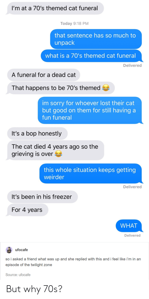Twilight: I'm at a 70's themed cat funeral  Today 9:18 PM  that sentence has so much to  unpack  what is a 70's themed cat funeral  Delivered  A funeral for a dead cat  That happens to be 70's themed e  im sorry for whoever lost their cat  but good on them for still having a  fun funeral  It's a bop honestly  The cat died 4 years ago so the  grieving is over E  this whole situation keeps getting  weirder  Delivered  It's been in his freezer  For 4 years  WHAT  Delivered  ufocafe  so i asked a friend what was up and she replied with this and i feel like i'm in an  episode of the twilight zone  Source: ufocafe But why 70s?