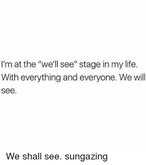 """Life, Memes, and 🤖: I'm at the """"we'll see"""" stage in my life.  With everything and everyone. We will  see We shall see. sungazing"""