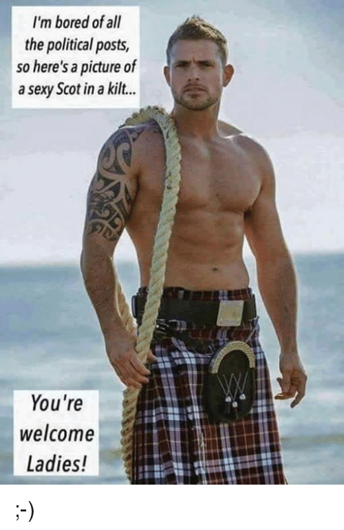 Youre Welcom: I'm bored of all  the political posts,  so here's a picture of  a sexy Scot in a kilt...  You're  welcome  Ladies! ;-)