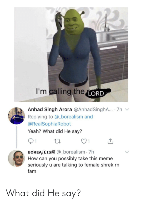 meme seriously: I'm calling theLORD  Anhad Singh Arora @AnhadSinghA.. 7h  Replying to @_borealism and  amli  @RealSophiaRobot  Yeah? What did He say?  1  BOREA EISM @_borealism 7h  How can you possibly take this meme  seriously u are talking to female shrek rn  fam What did He say?