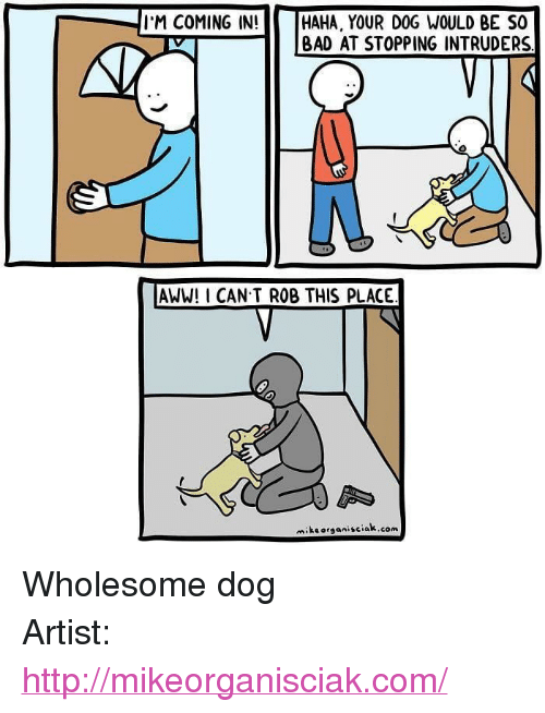 "Aww, Bad, and Http: I'M COMING IN!  HAHA, YOUR DOG WOULD BE SO  | BAD AT STOPPING INTRUDERS  AWW! I CAN T ROB THIS PLACE  miksorganisciak.com <p>Wholesome dog</p>  Artist: <a href=""http://mikeorganisciak.com/"">http://mikeorganisciak.com/</a>"