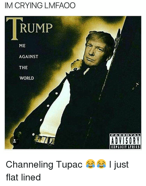 Memes, Me Against the World, and 🤖: IM CRYING LMFAOO  RUMP  ME  AGAINST  THE  WORLD  ADVISORY  EXPLICIT LYRICS Channeling Tupac 😂😂 I just flat lined