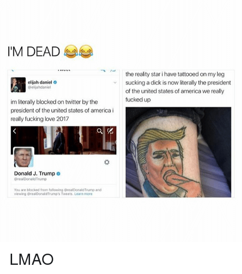 presidents of the united states: I'M DEAD  elijah daniel  @elijahdaniel  im literally blocked on twitter by the  president of the united states of america i  really fucking love 2017  Donald J. Trump  realDonald Trump  You are blocked from following realDonaldTrump and  viewing realDonaldTrump's Tweets. Learn more  the reality star i have tattooed on my leg  sucking a dick is now literally the president  of the united states of america we really  fucked up LMAO