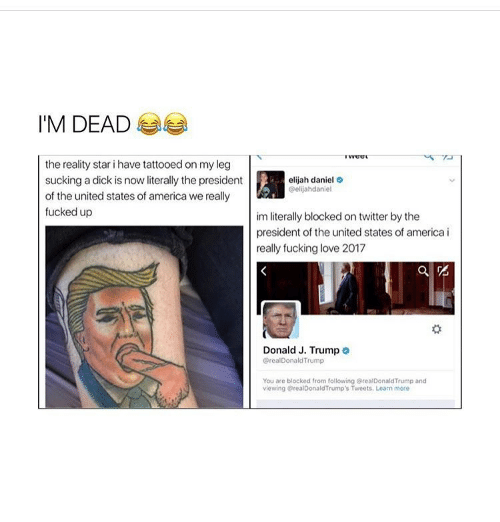 presidents of the united states: I'M DEAD  the reality star i have tattooedon my leg  sucking a dick is now literally the president  of the united states of america we really  fucked up  elijah daniel  Oelijahdaniel  im literally blockedon twitter by the  president of the united states of america i  really fucking love 2017  Donald J. Trump o  realDonaldTrump  You are blocked from following realDonald Trump and  viewing @realDonaldTrump's Tweets. Learn more