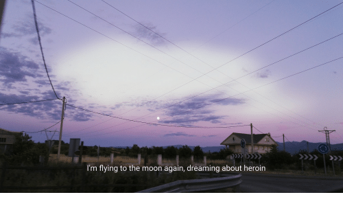 im flying: I'm flying to the moon again, dreaming about heroin