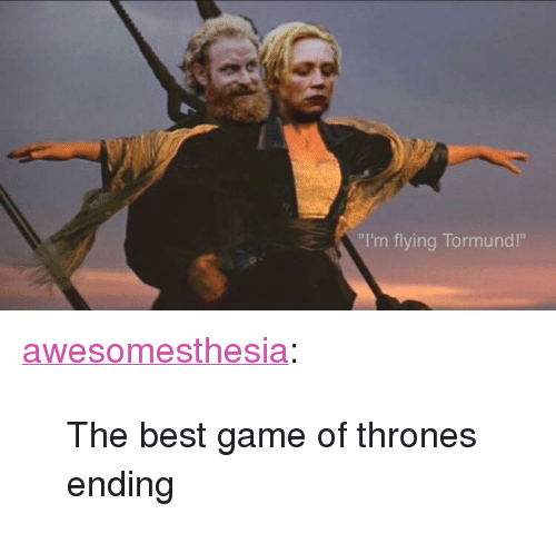 "im flying: ""I'm flying Tormund!"" <p><a href=""http://awesomesthesia.tumblr.com/post/172697464148/the-best-game-of-thrones-ending"" class=""tumblr_blog"">awesomesthesia</a>:</p>  <blockquote><p>The best game of thrones ending</p></blockquote>"