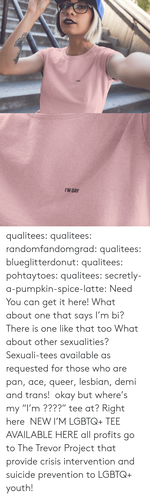"""tee: I'M GAY   I'M GAY qualitees:  qualitees: randomfandomgrad:  qualitees:  blueglitterdonut:  qualitees:   pohtaytoes:  qualitees:   secretly-a-pumpkin-spice-latte: Need You can get it here!   What about one that says I'm bi?  There is one like that too   What about other sexualities?  Sexuali-tees available as requested for those who are pan, ace,queer,lesbian, demi and trans!  okay but where's my""""I'm ????"""" tee at?  Right here  NEW I'M LGBTQ+ TEE AVAILABLE HEREall profits go to The Trevor Project that provide crisis intervention and suicide prevention to LGBTQ+ youth!"""