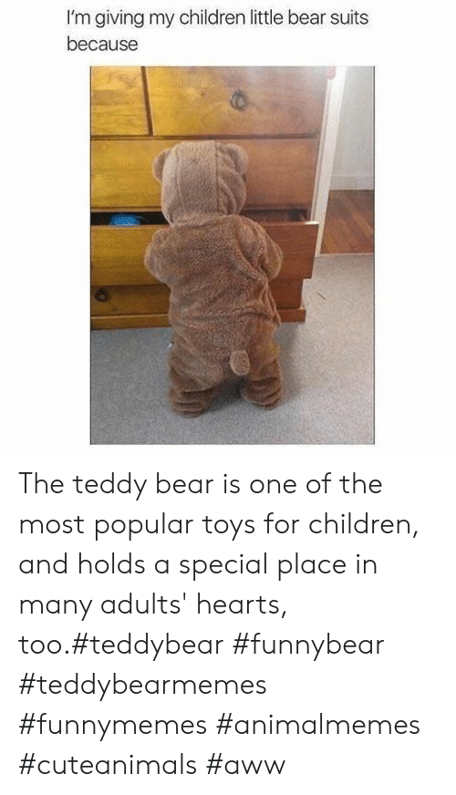 little bear: I'm giving my children little bear suits  because The teddy bear is one of the most popular toys for children, and holds a special place in many adults' hearts, too.#teddybear #funnybear #teddybearmemes #funnymemes #animalmemes #cuteanimals #aww