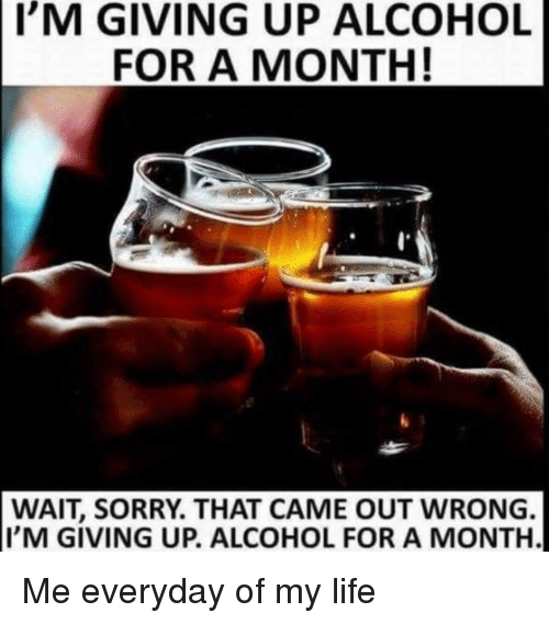 Everyday Of My Life: I'M  GIVING UP ALCOHOL  FOR A MONTH!  WAIT, SORRY. THAT CAME OUT WRONG.  I'M GIVING UP. ALCOHOL FOR A MONTH. Me everyday of my life