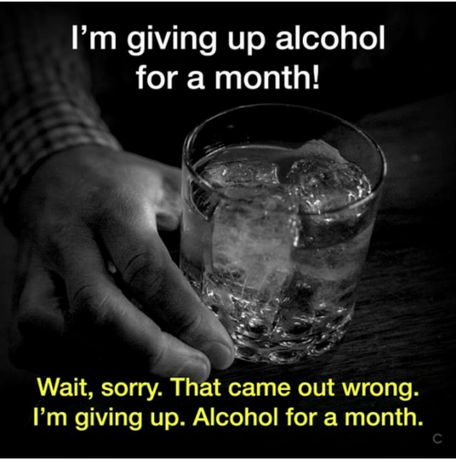 Im Giving Up: I'm giving up alcohol  for a month!  Wait, sorry. That came out wrong.  I'm giving up. Alcohol for a month.  C