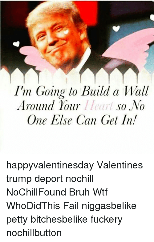 Trump Deportation: I'm Going to Build a Wall  //earl so No  Around hour  One Else Can Gel In. happyvalentinesday Valentines trump deport nochill NoChillFound Bruh Wtf WhoDidThis Fail niggasbelike petty bitchesbelike fuckery nochillbutton