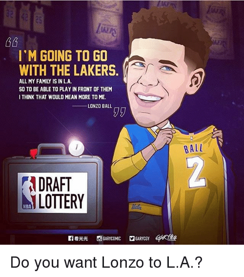 Family, Los Angeles Lakers, and Memes: I'M GOING TO GO  WITH THE LAKERS.  ALL MY FAMILY IS IN LA.  SO TO BE ABLE TO PLAYIN FRONT OF THEM  I THINK THAT WOULD MEAN MORE TOME.  LONZO BALL  NDRAFT  ALOTTERY  2GARYCGY  BALL Do you want Lonzo to L.A.?
