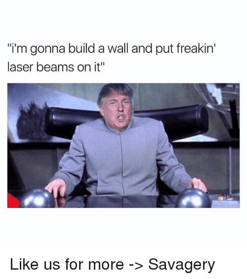 "Build A Wall: ""i'm gonna build a wall and put freakin'  laser beams on it"" Like us for more -> Savagery"