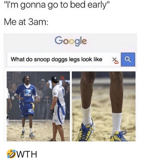 """Google, Memes, and Snoop: I'm gonna go to bed early""""  Me at 3am:  Google  What do snoop doggs legs look like 🤣WTH"""