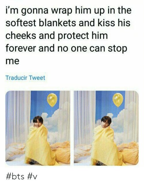 bts v: i'm gonna wrap him up in the  softest blankets and kiss his  cheeks and protect him  forever and no one can stop  me  Traducir Tweet #bts #v