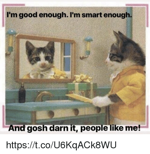 Gosh Darn It People Like Me: I'm good enough. I'm smart enough  And gosh darn it, people like me! https://t.co/U6KqACk8WU