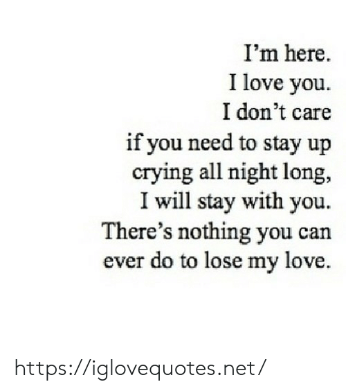 my love: I'm here.  I love you  I don't care  if you need to stay up  crying all night long,  I will stay with you  There's nothing you can  ever do to lose my love https://iglovequotes.net/