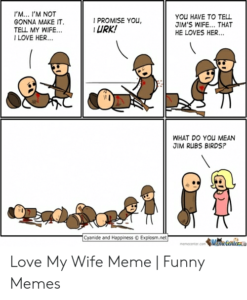 Love My Wife Meme: I'M... I'M NOT  YOU HAVE TO TELL  JIM'S WIFE... THAT  HE LOVES HER...  I PROMISE YOU  URK!  GONNA MAKE IT  TELL MY WIFE..  ILOVE HER...  WHAT DO YOU MEAN  JIM RUBS BIRDS?  Cyanide and Happiness  Explosm.net  Mecanler  memecenter.com Love My Wife Meme | Funny Memes