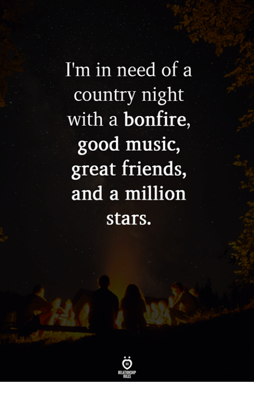 Friends, Music, and Good: I'm in need of a  country night  with a bonfire,  good music,  great friends,  and a million  stars.