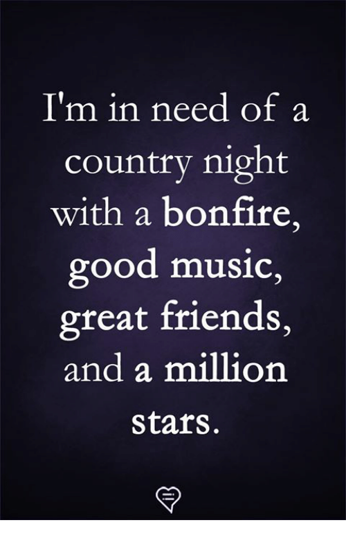 In Need Of: I'm in need of a  country night  with a bonfire,  good music,  great friends,  and a million  stars.
