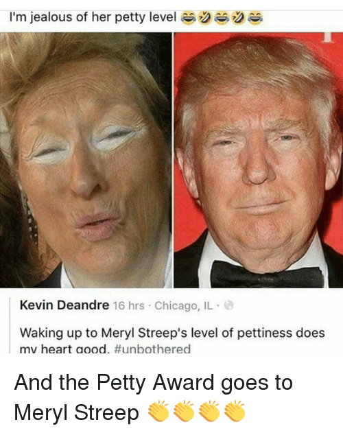 Jealous, Memes, and Meryl Streep: I'm jealous of her petty level R  2  Kevin Deandre 16 hrs Chicago, IL  Waking up to Meryl Streep's level of pettiness does  mv heart good  And the Petty Award goes to Meryl Streep 👏👏👏👏