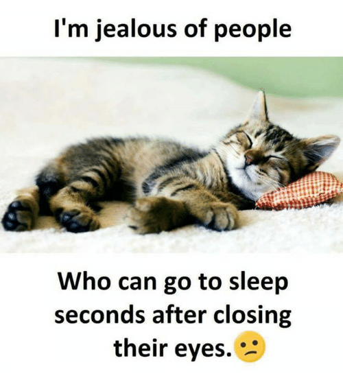 Im Jealous: I'm jealous of people  Who can go to sleep  seconds after closing  their eyes.